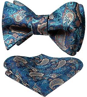 HISDERN Set fazzoletto da uomo con fazzoletto di ascot floreale jacquard con cravatta