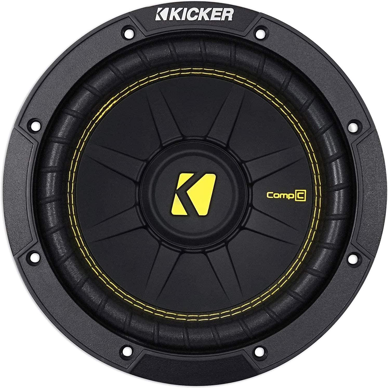 Kicker 44CWCD84 CompC 8 Inch 4 Ohm 200 Watt RMS Power and 400 Watts Peak Power Dual Voice Coil Car Audio Sub Subwoofer