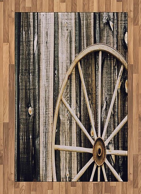 Amazon Com Ambesonne Barn Wood Wagon Wheel Area Rug Wooden Barn Door And Vintage Rusty Wheel Rustic Home Farm Flat Woven Accent Rug For Living Room Bedroom Dining Room 4 X 5 7 Black