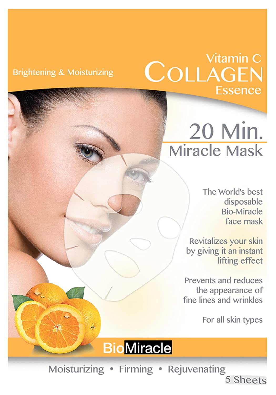 Bio Miracle Anti Aging And Moisturizing Face Mask Secret Key Nature Recipe Pack Tea Tree 20g 3pcs Vitamin C 5 Count Facial Masks Beauty
