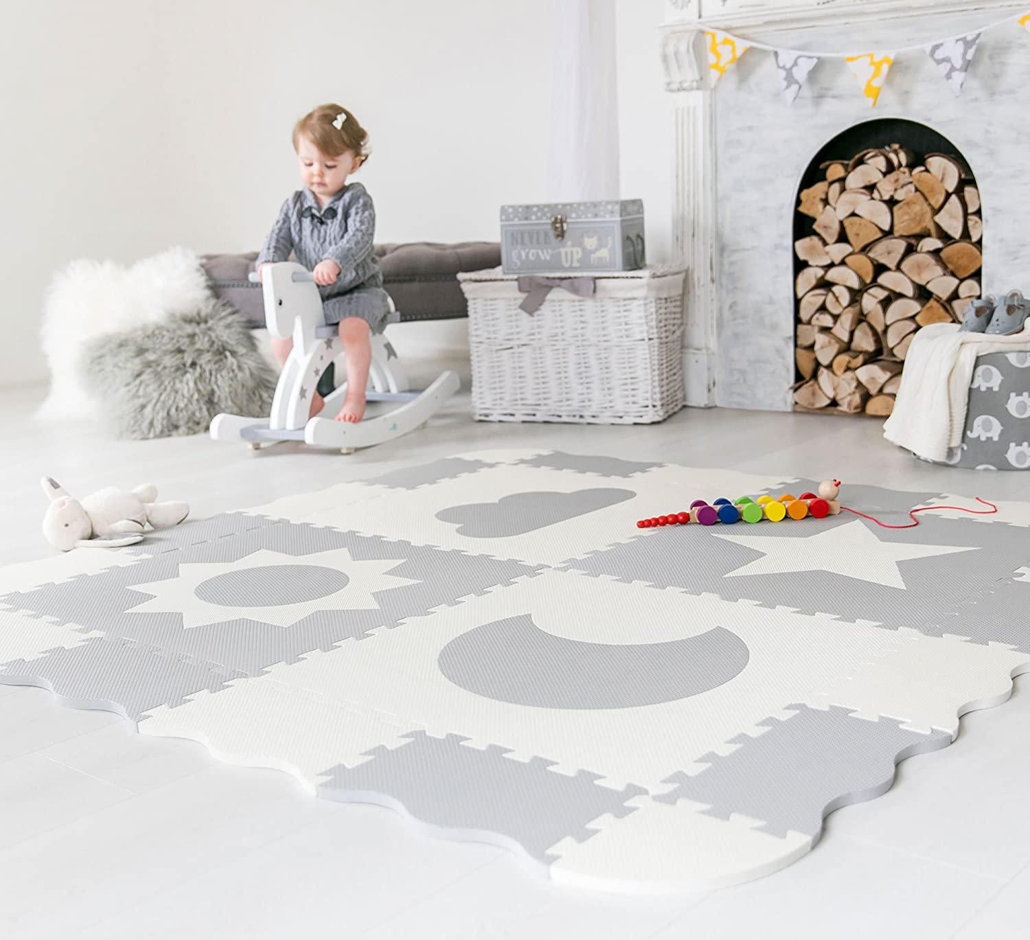 Amazon interlocking foam baby play mat tiles non toxic amazon interlocking foam baby play mat tiles non toxic extra large thick floor squares 61 x 61 unisex grey white playroom nursery mat dailygadgetfo Choice Image