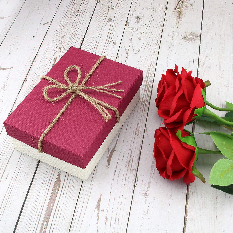 Sacchetti Regalo Compleanno San Valentino Matrimonio Laurea Festa Borsa di Carta Scatole Portaconfetti Gioielli con Coperchio Scatole Biscotti VEESUN 3pz Kraft Scatole Regalo Cartone Grandi