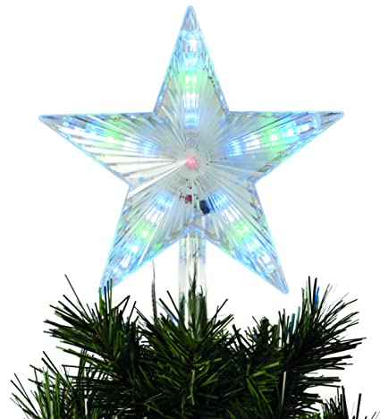 Stella Di Natale A Batteria.Festive Productions Animate Digitale Led Puntale Per Albero Di