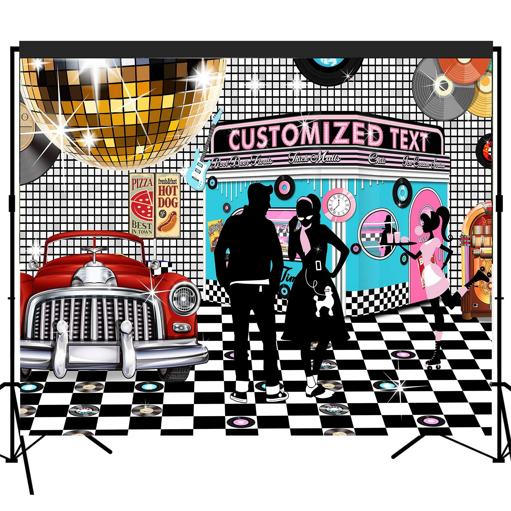 musykrafties Customized 50s Diner Backdrop Large Banner Decoration Dessert Table Background Photobooth Props 10x8feet