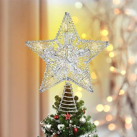 """New 9"""" LED Tree Topper Star Christmas Top Xmas Star Light Up Glitter Gift Decor"""