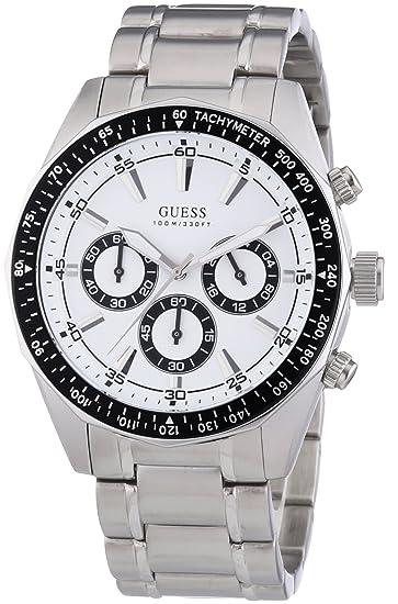 Guess W16580G1 - Reloj cronógrafo de Cuarzo para Hombre con Correa de Acero Inoxidable bañado, Color Plateado