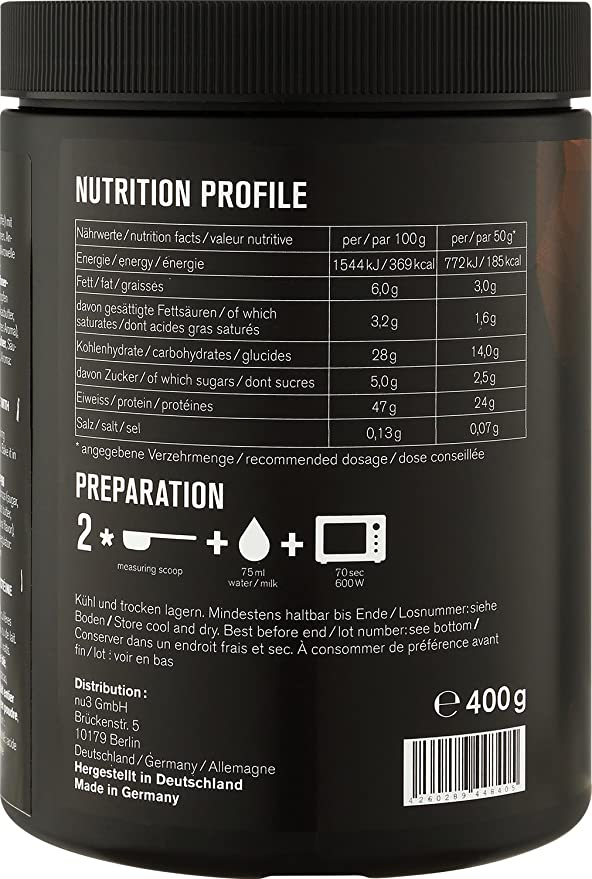 nu3 Mug Cake con Proteína | 400g de mezcla lista para microondas | Sabor triple chocolate con 24g de proteína | Snack perfecto para una dieta fitness ...