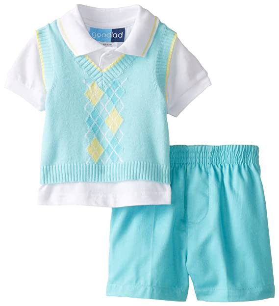 Good Lad Yellow Argyle Sweater Vest Polo Top and Striped Seersucker Pants Set