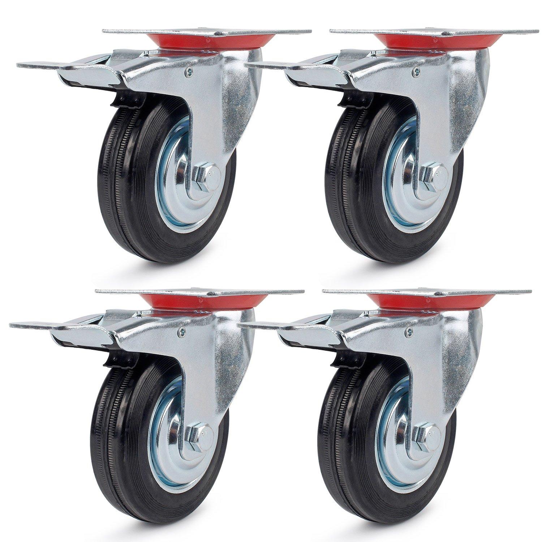 4 Heavy Duty 75mm Swivel with brake Castor Wheels Trolley Furniture Caster Rubber YiToo