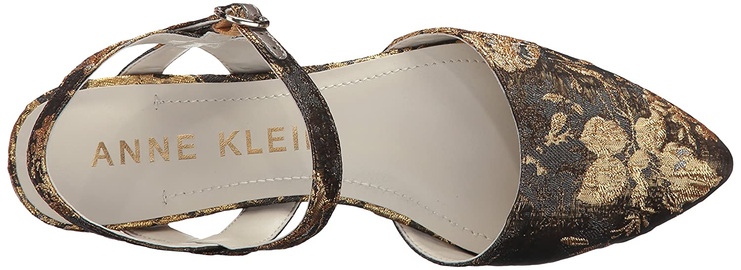 Anne Klein Women's Odell Fabric Ballet Flat B06Y23JLQQ 6 B(M) US|Dark Grey/Gold/Multi