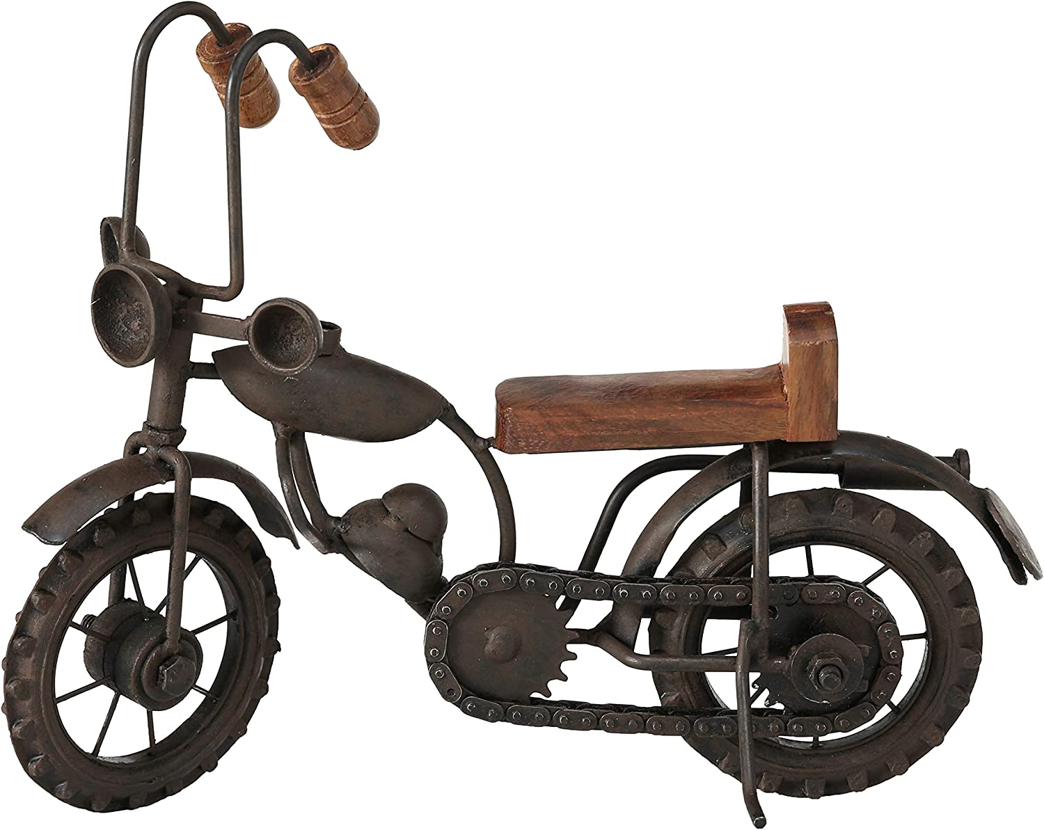 WHW Whole House Worlds Vintage Motorcycle Chopper Figurine, Atelier Wood Finish, Iron Black Metal, Handcrafted, 5.75 x 11.75 Inches