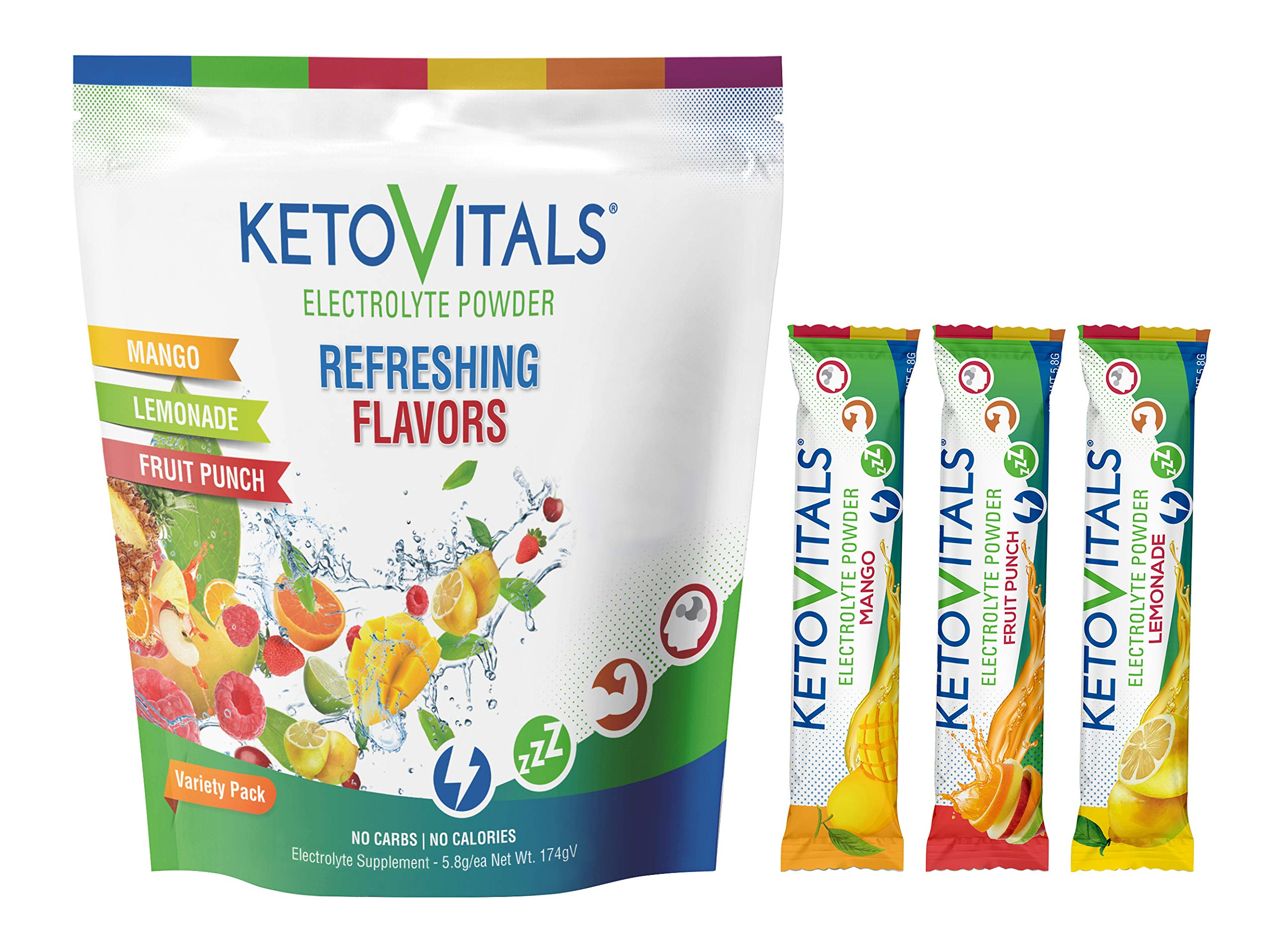 Keto Vitals Electrolyte Powder Stick Packs | Keto Friendly Electrolyte Travel Packets | Variety Pack Individual Packets | Energy Drink Mix | Zero Calorie Zero Carb (Original Assorted, 30 Count)