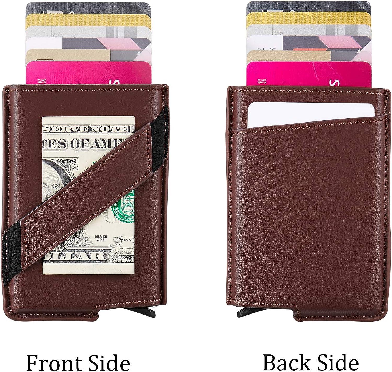 RFID Blocking Minimalist Slim Front Pocket Credit Card Holder Leather Wallet For Men Secure Metal Business Card Case