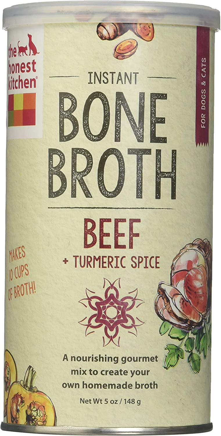 Honest Kitchen The Beef Bone Broth Natural Human Grade Functional Liquid Treat With Turmeric Spice For Dogs Cats, 5 Oz Pack Of 2