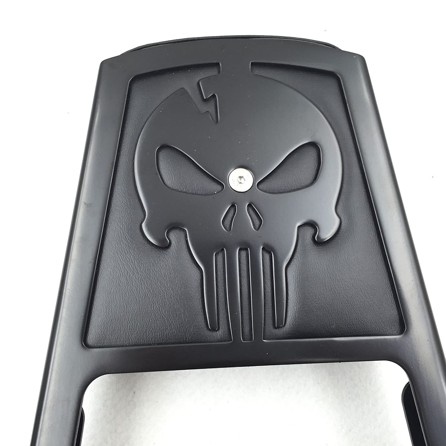HTT Group Motorcycle Black Skull Style Backrest Sissy Bar with Leather Pad For Harley Davidson Sportster Xl883C XL883R XL1200R XL1200C XL1200S XLH883 XLH1200 by TTMT
