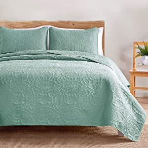 VEEYOO Bedspread Quilt Set Full/Queen Size - Soft Microfiber Lightweight Coverlet Quilt Set for All Season, Quilt Set 3 Piece (1 Quilt, 2 Pillow Shams), Turquoise