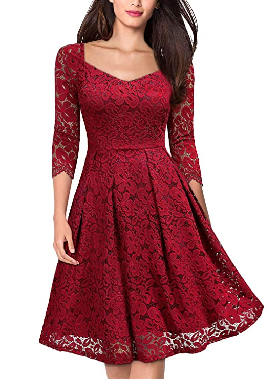 MISSMAY Women's Vintage Floral Lace Short Sleeve Boat Neck Cocktail Formal Swing Dress (Medium,E-Navy Blue Short Sleeve)