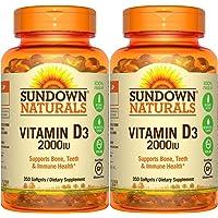 Sundown Naturals Vitamin D3 2000 IU, 350 Softgels (2 Pack)