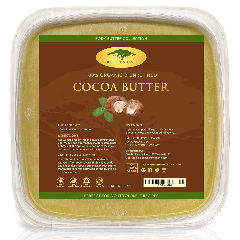 Unrefined Organic Cocoa Butter Raw/Food Grade Perfect for Skin Care, Keto Snacks, Lip Balm, Body Lotion, Stretch Mark Cream, Bar Soap, Body Butter, Hair Care, Cacao Butter Soap Making Base (32 oz)