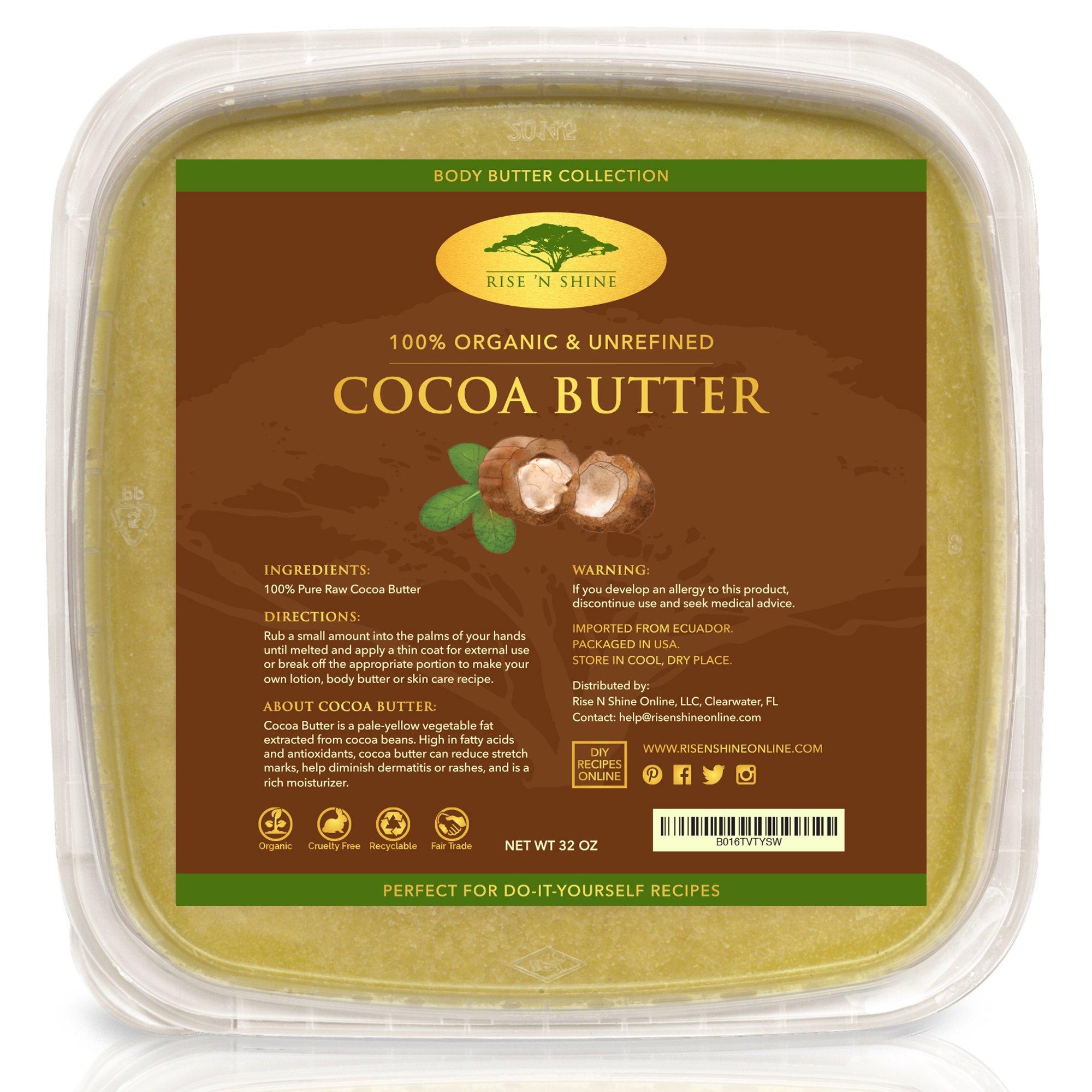 Pure Raw Unrefined Cocoa Butter with RECIPE EBOOK - Make Soap Base, Lotion, Shampoo, Conditioner Lip Balm And Hand Cream Recipes - Unrefined Organic Cacao Butter (32 oz)
