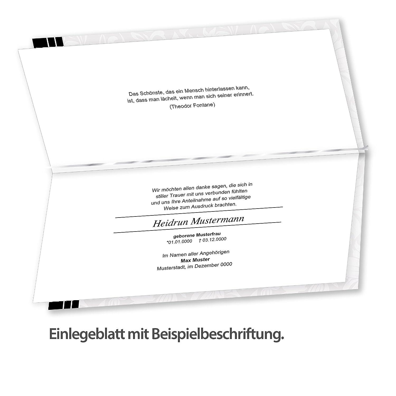 Danksagung Trauer /(50 Sets/) selbst bedruckbar//beschreibbar mit ...