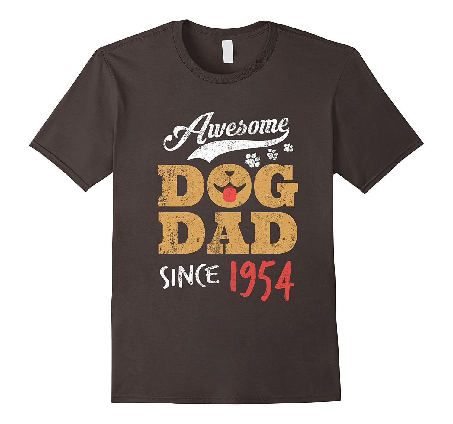 Awesome Dog Dad Since 1954 Funny 63rd Birthday Retro T-Shirt-PL