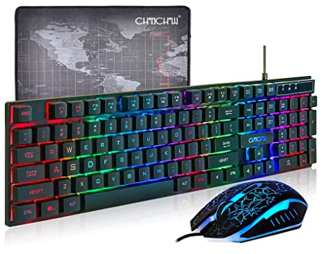 13e2e3e6245 (Upgrate Version) CHONCHOW LED Backlit Wired Gaming Keyboard and Mouse  Mousepad Combo US Layout