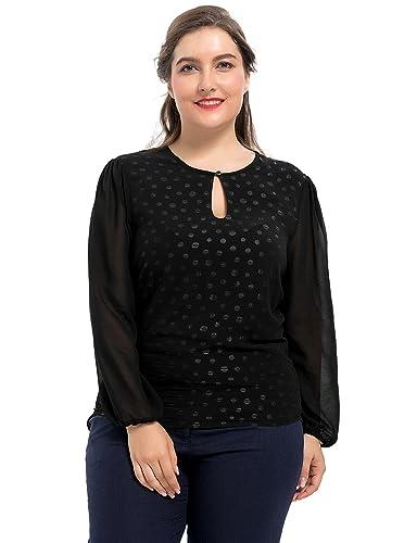 Chicwe Blusas Tops Tallas Grandes Mujeres Camiseta con Forro Diseño Lunares Puntos 1X-4X