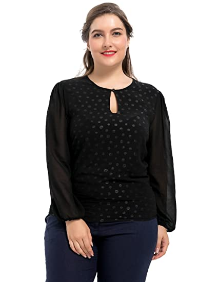 58dc44f8c8021 Chicwe Women s Plus Size Lined Dots Neck Keyhole Style Blouse - Casual and Work  Top 1X