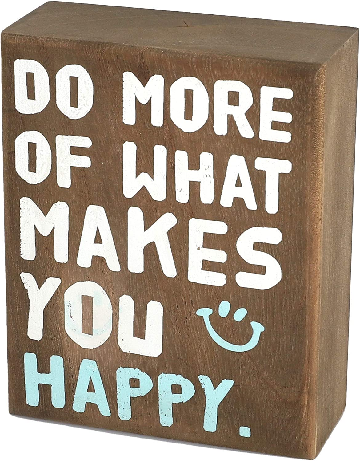 whoaon Rustic Wood Box Signs, Makes You Happy, 4 x 5 inches, Inspirational Tabletop Display, Small Wooden Signs for Home Decor