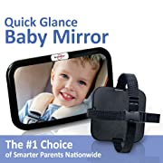 DriveMate Baby Car Mirror Large Wide Angle, Backseat Rear View Clarity | Babies, Toddlers | Adjustable Nylon Straps | Fits Cars, Trucks, SUVs | Shatterproof Safety Glass