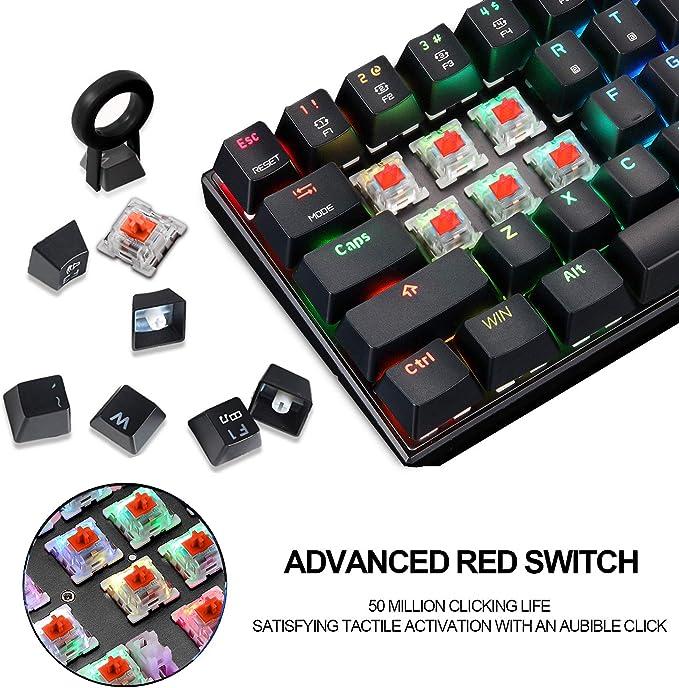 Teclado mecánico MOTOSPEED 60% portátil 61 teclas RGB LED retroiluminado tipo C USB con cable de oficina/teclado para juegos Mac, Android, Windows ...