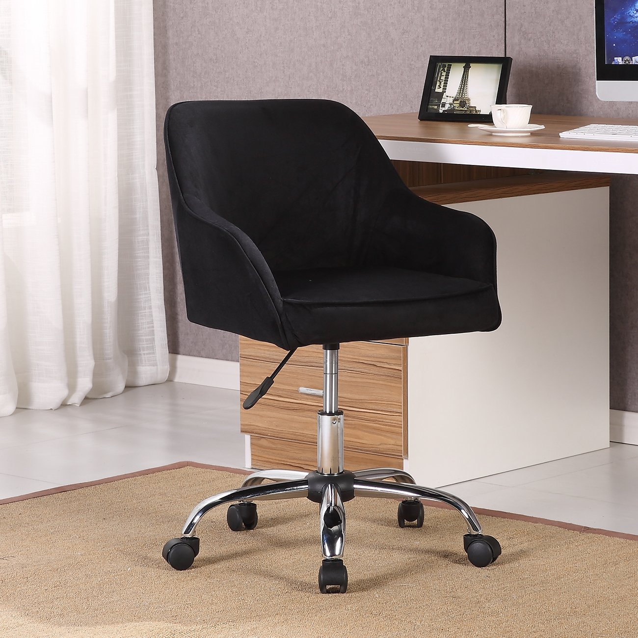 Belleze Modern Office Chair Task Desk Adjustable Swivel Height Velvet, Black