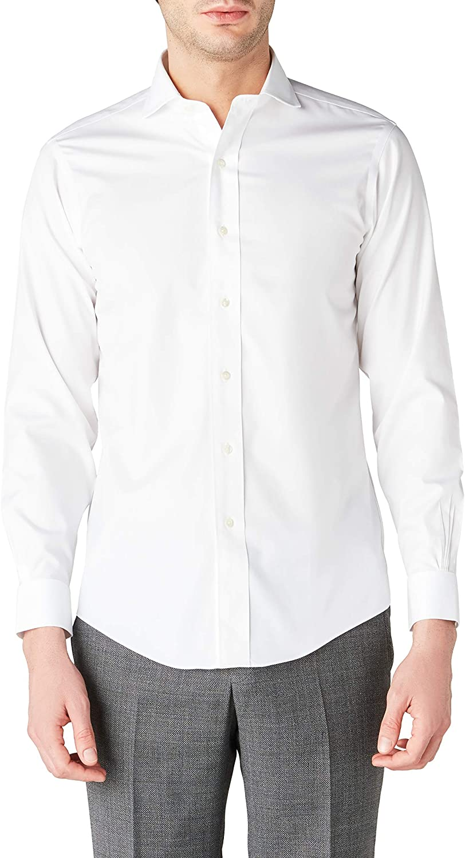 BROOKS BROTHERS Dress Non-Iron Londoner Milano Camisa, Blanco ...