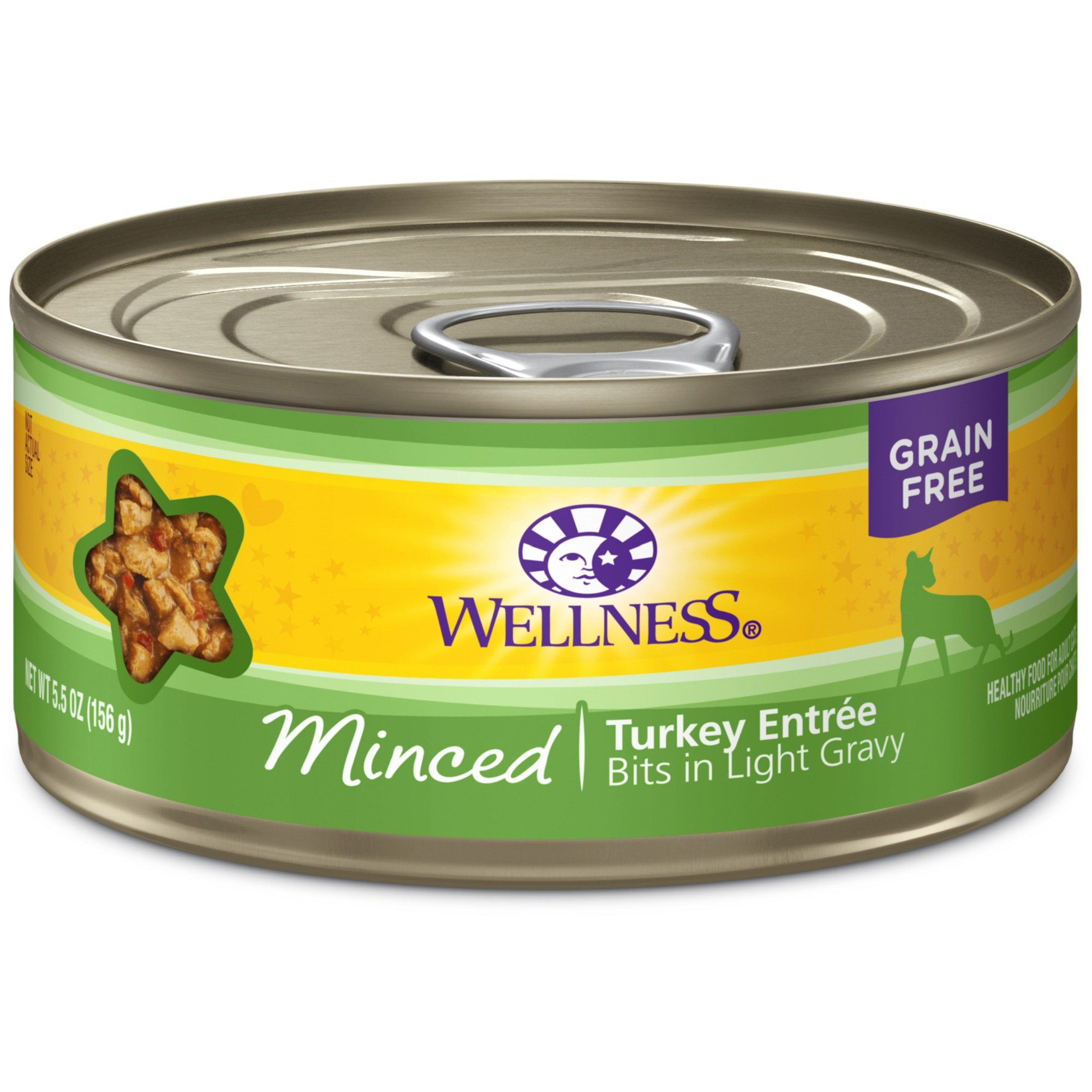 Wellness Complete Health Natural Grain Free Wet Canned Cat Food, Minced Turkey Entrée, 5.5-Ounce Can (Pack Of 24) by Wellness Natural Pet Food