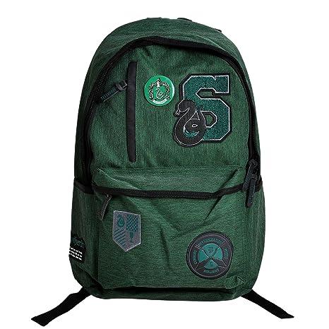 mochila de Harry Potter con el verde de la cresta de Slytherin 46x31x14cm