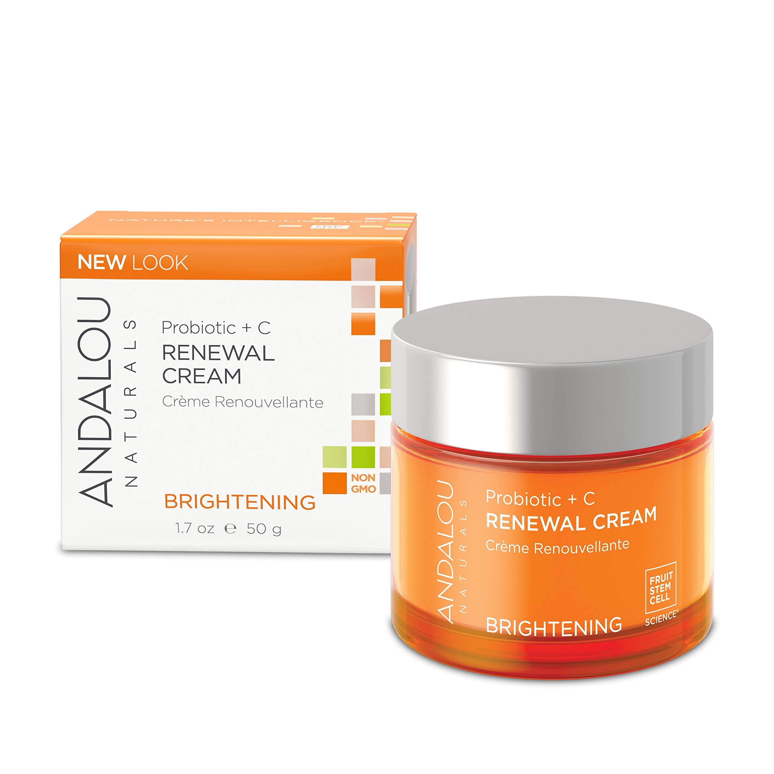 Andalou Naturals Probiotic + C Renewal Cream, 1.7 oz., Vitamin C and Probiotics Help Give Skin A Bright, Balanced, and Healthy Looking Glow, for Normal and Combination Skin