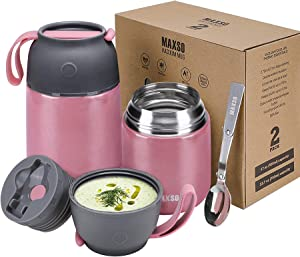 2 Pack Vacuum Insulated Food Jar Hot Food Containers for Lunch School Soup Thermos For Kids,Travel Food Flask Hot Cold (24oz,17oz) (Pink)