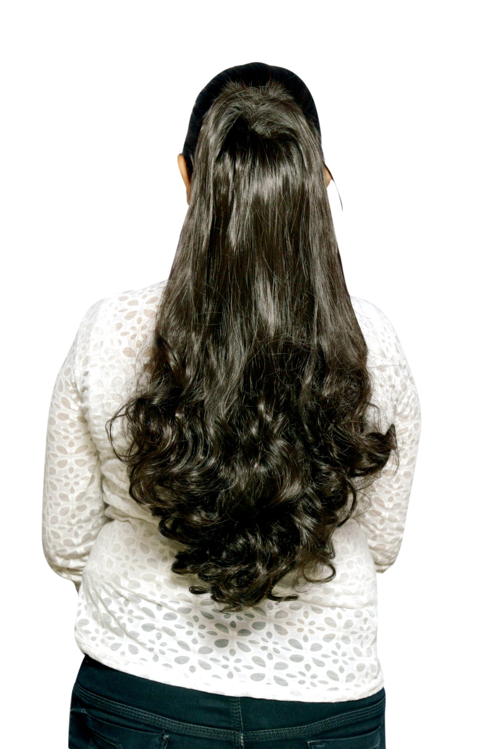 Homeoculture Party Hair Extensions with Plastic Clutcher, 24 Inches, Black product image