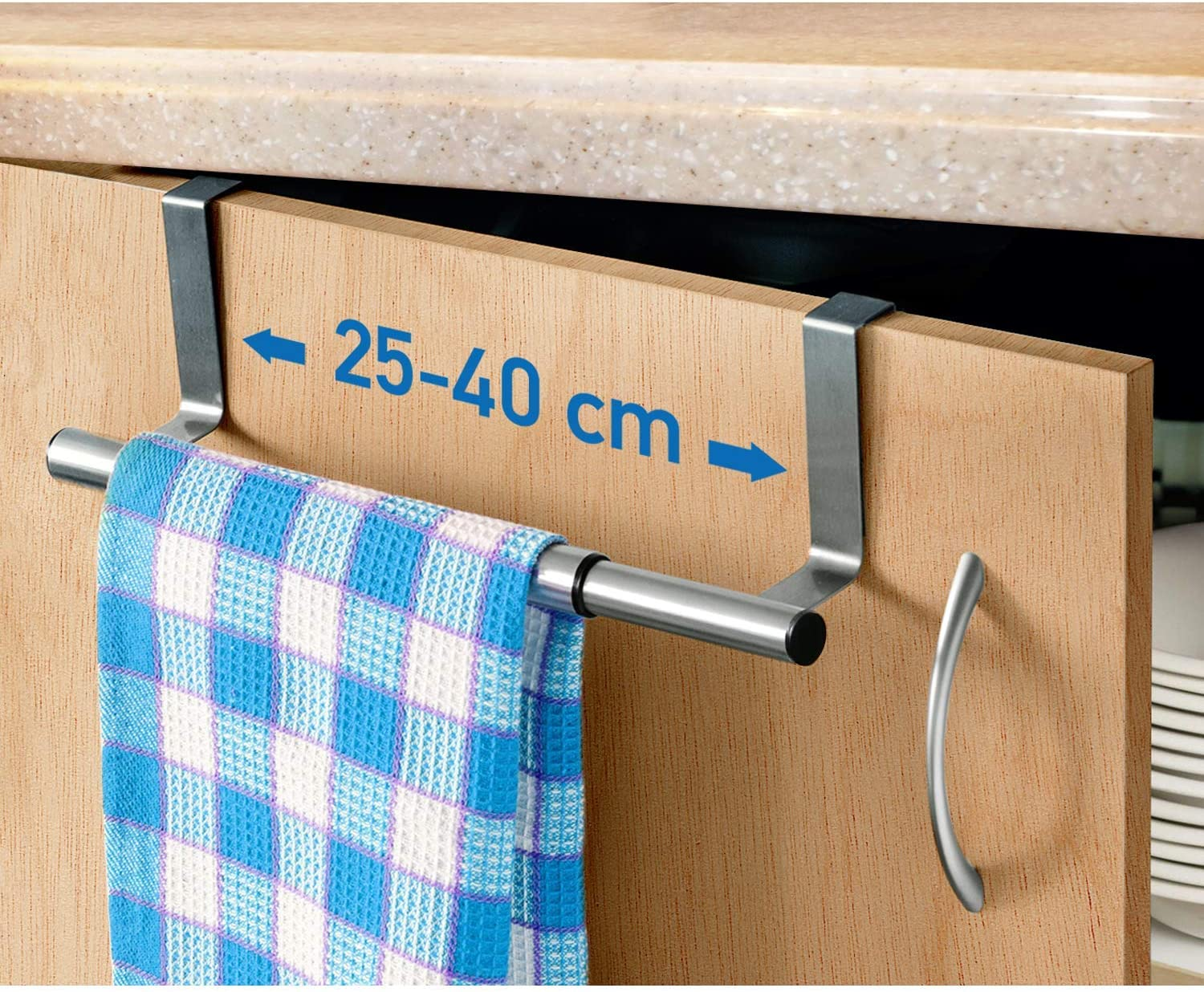 Amazon Com Artmoon Spread Over Door Towel Bar Towel Rail Over Cupboard Drawer Cabinet Extendable 9 8 15 7 Anti Slip Scratch Protection Stainless Steel Home Kitchen