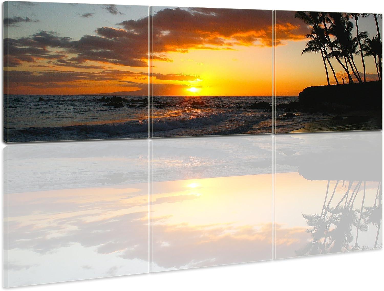 Bilderdepot24 Bastidor Imagen - Cuadros en Lienzo Atardecer en el Caribe 120x40cm 3 Partes (Panorama) - Made in Germany!: Amazon.es: Hogar