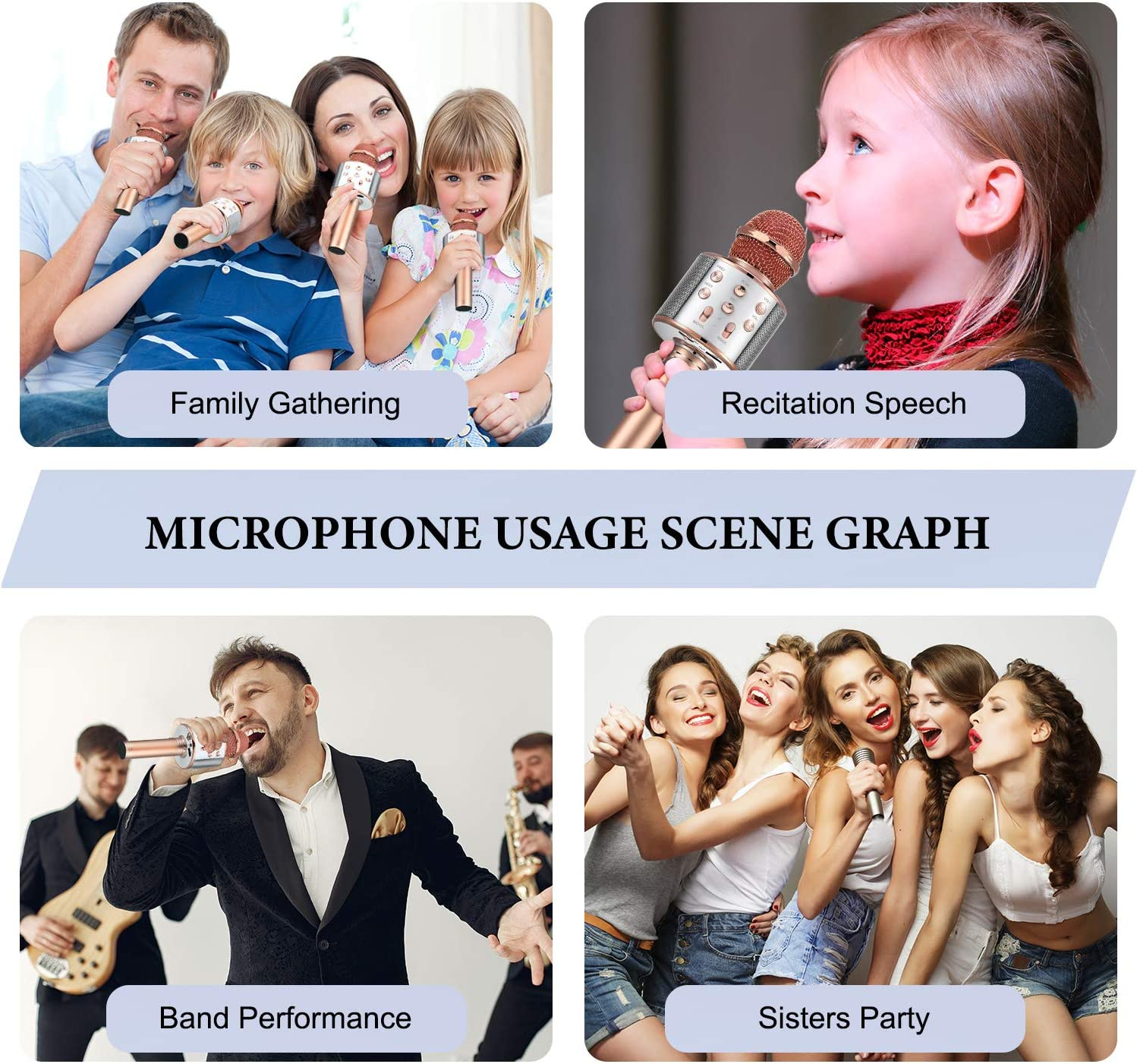 Rose Gold Wireless Karaoke Bluetooth Microphone Handheld Karaoke Speaker 3-in-1 Portable Microphone Christmas Birthday Home Party Supplies for Mobile Phone Laptop