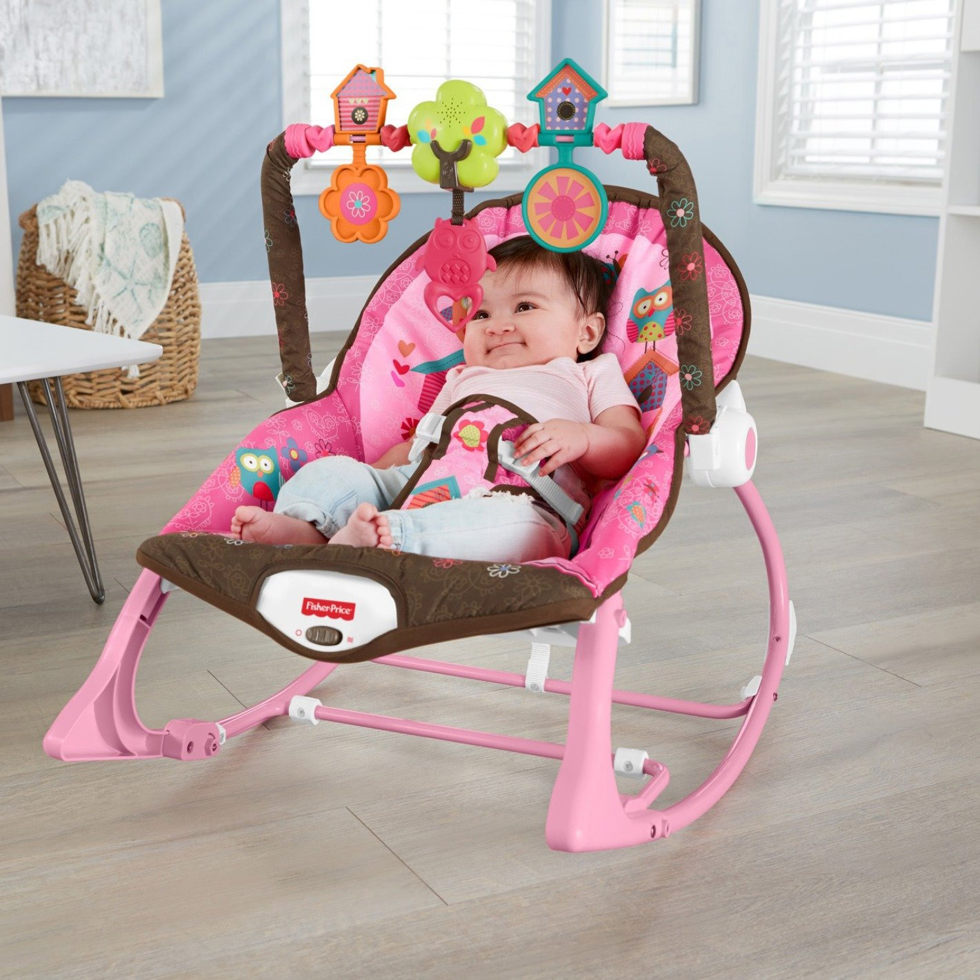Fisher Price Infant To Toddler Rocker Pink Owls X7032