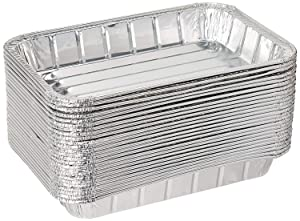 "Pack of 20 Disposable Aluminum Foil Toaster Oven Pans-Mini Broiler Pans | BPA Free | Perfect for Small Cakes or Personal Quiche | Standard Size - 8 1/2"" x 6"""