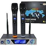 VHF Funkmikrofon Set HandheldDrahtloses Mikrofon System mit Dual Handheld Dynamischen Mikrofone und LCD Display für Karaoke Party Sitzung