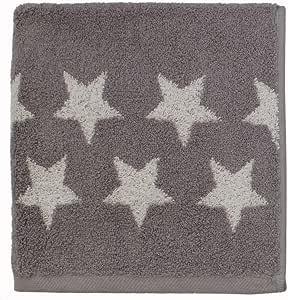 Serie de toallas de mano cenefa Estrellas, Gris, algodón rizado ...