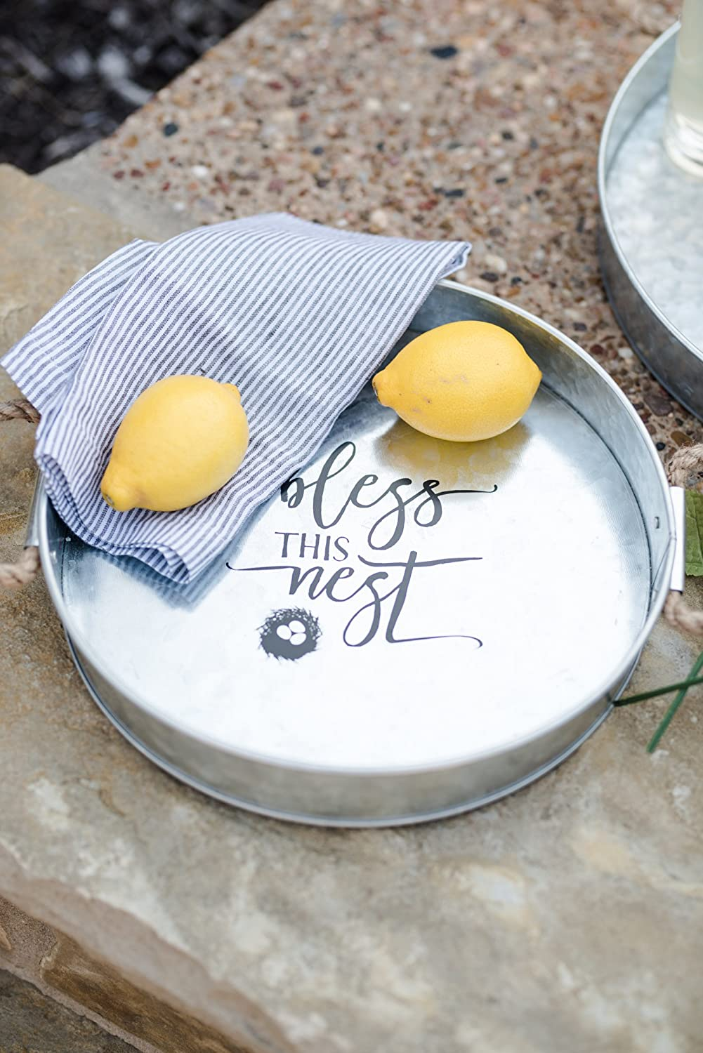 All Hearts Come Home For Christmas Brownlow Gifts Galvanized Metal Round Serving Tray