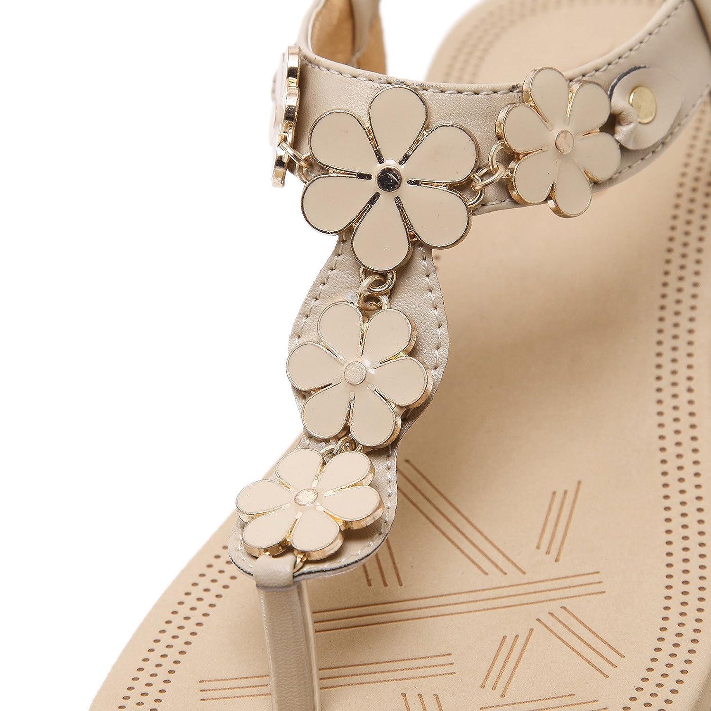 Jiu du Women's Sweet Medium High Heel Thong Platform Wedge Sandals B07B2S9KY6 US6/CN36/Foot long 23cm Beige Pu