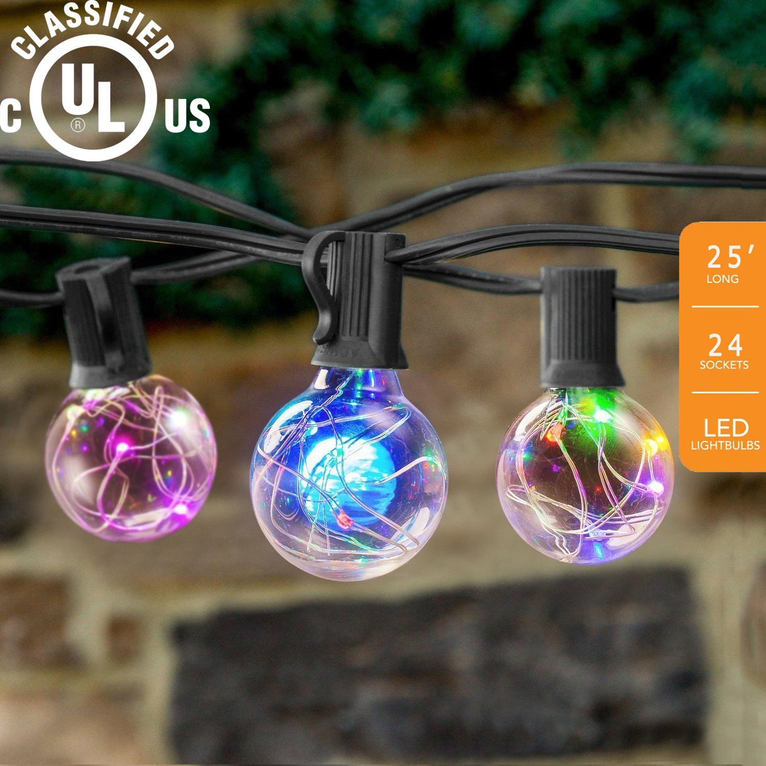 FURNIZONE 25Ft LED Globe Lights Backyard Patio 27 Bulbs Globe String Lights UL Listed Indoor String Light Hanging Garden Light Pergola Market Cafe Bistro Pool Light Multi Color