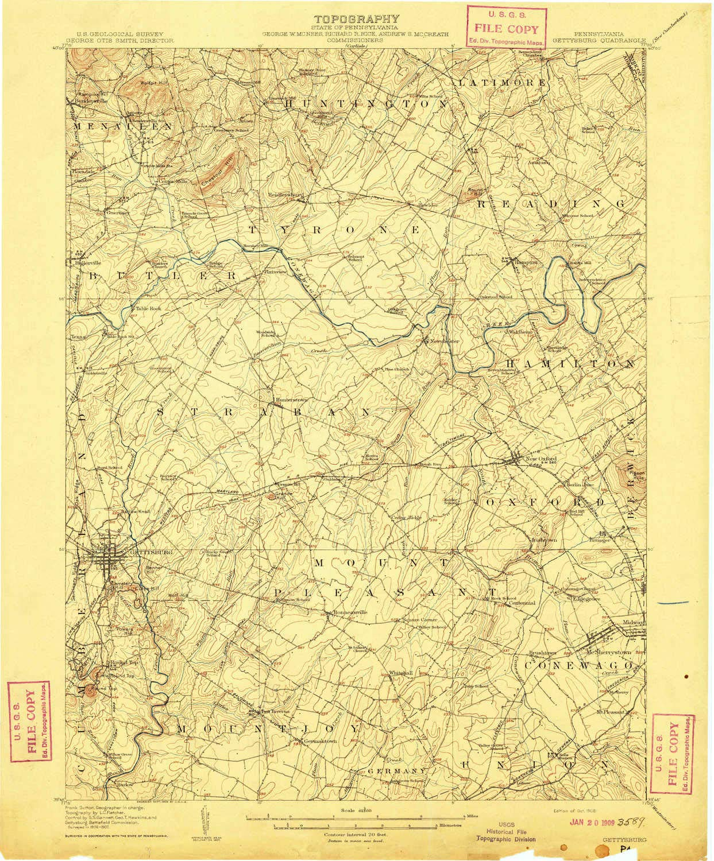 Gettysburg Topographic Map.Amazon Com Yellowmaps Gettysburg Pa Topo Map 1 62500 Scale 15 X